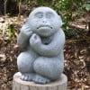 [米子]線路が通り、可愛いお猿さんの銅像がある日吉神社