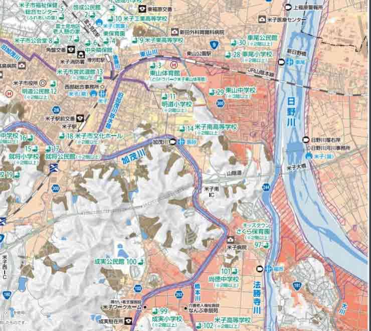 米子市ハザードマップ1